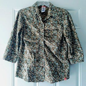 The North Face Floral Brown Button Down Shirt Sz M